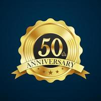 Anniversary celebration luxury gold badge label, vector illustration