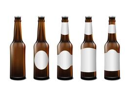 Realistic front view beer bottle mockup template vector