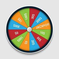 Wheel of Fortune with money prize, winning lottery vector