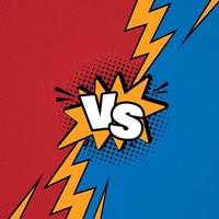 Versus VS letters fight background in flat comics style design vector