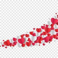 fondo del día de san valentín, corazones de papel vector