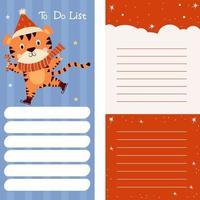 planificador, papel para notas, lista de tareas pendientes decorada con un lindo tigre en patines vector