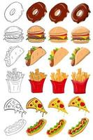 Fast food icons vector illustration isolated in a white background
