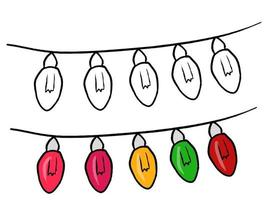 Colored hand drawn collection of Christmas stuff vector