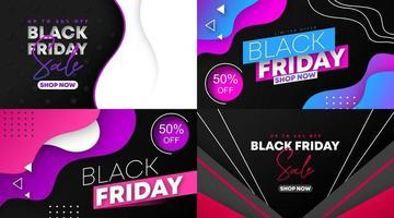 venta de viernes negro banner web y vector de ilustración de volante