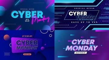 Vector de ilustración de fondo de banner de web de venta de Cyber Monday