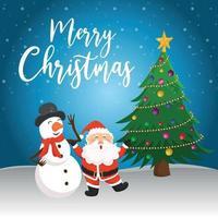 Christmas greeting card with santa illustration vector
