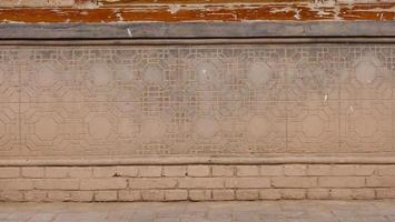 Chinese architecture residential house brick wall in Gansu China. photo