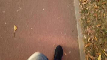 Punto de vista a pie de un hombre en el parque con hojas de otoño video