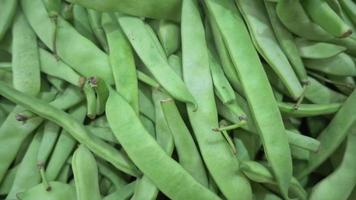 Pile of Fresh Green Beans on the Market Stand video