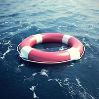 Lifebuoy in the sea, the ocean with focus effect. 3d illustration photo