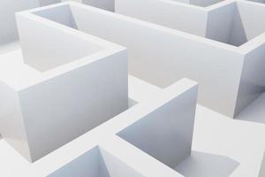 vista superior del laberinto blanco. Representación 3d foto