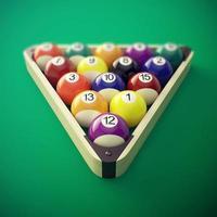 Pool billiard balls in a wooden rack. 3d illustration photo