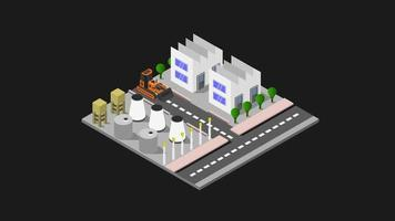 Industry illustrated on background video