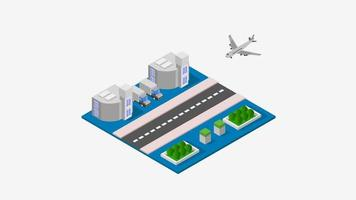 Airport illustrated on background video