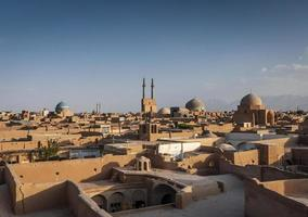 mosque and landscape view of yazd city old town iran photo