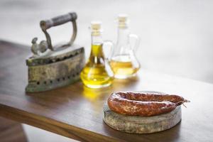 spanish traditional smoked pork chorizo sausage photo