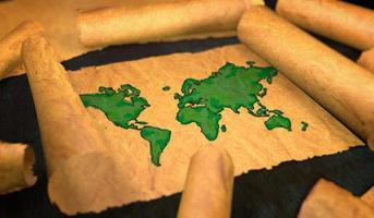pintura del mapa del mundo en papel foto