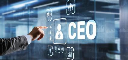 CEO concept. Businessman pressing virtual screen inscription boss photo