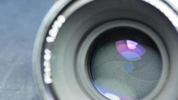 Closeup of the aperture blades of a movie lens. video