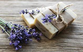 Bars of handmade soap with lavender photo