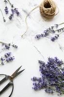 flores de lavanda, tijeras y cuerda foto