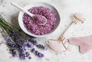 Set of natural organic SPA cosmetic with lavender. photo