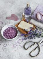 Natural herb cosmetic with lavender flowers photo