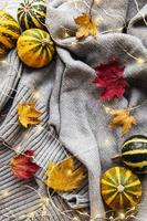 calabazas y un cálido suéter gris con brillantes guirnaldas. foto