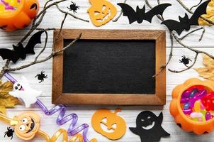 Collection of Halloween party objects forming a frame photo