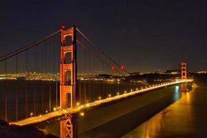 Night view of San Francisco's Golden Gate Bridge photo