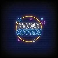 Huge Offer Neon Signs Style Text Vector