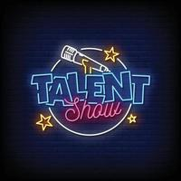 Talent Show Neon Signs Style Text Vector
