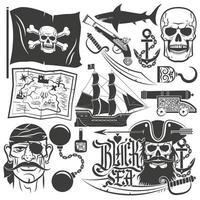 Pirate set for logos. Blackbeard vector