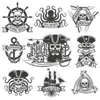 Pirate tattoo set. Unique pirate logos vector