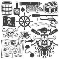 Bundle objects for design pirate logo vector
