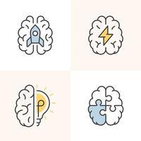 Various creative brain signs. vector