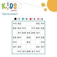 Color by numbers printable math worksheet vector