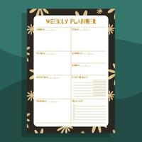 Printable weekly planner concept vector