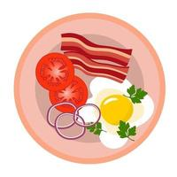 Scrambled eggs with bacon, tomatoes, parsley and onions in a plate. vector