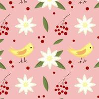 Vector seamless pattern with white flower, berries, bird and leaf.