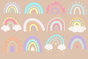 Set of cute sweet boho rainbows. vector