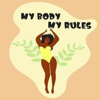 Body positive black woman dressed in a swimsuit. vector