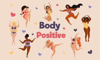 Happy body positive women. Body positive concept. vector