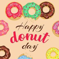 Happy Donut Day card with lettering and doughnuts. vector