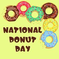 National Donut Day card with lettering and doughnuts. vector