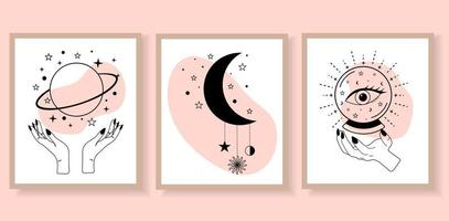 Set of esoteric alchemy mystical magic posters. vector