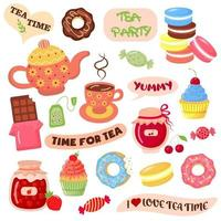 Tea time elements collection. vector