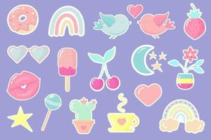 Cute and trendy patches. Vector sweet stickers on blue background.