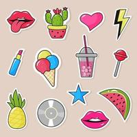 Set of stickers, pins, patches in cartoon 80s-90s pop-art style. vector
